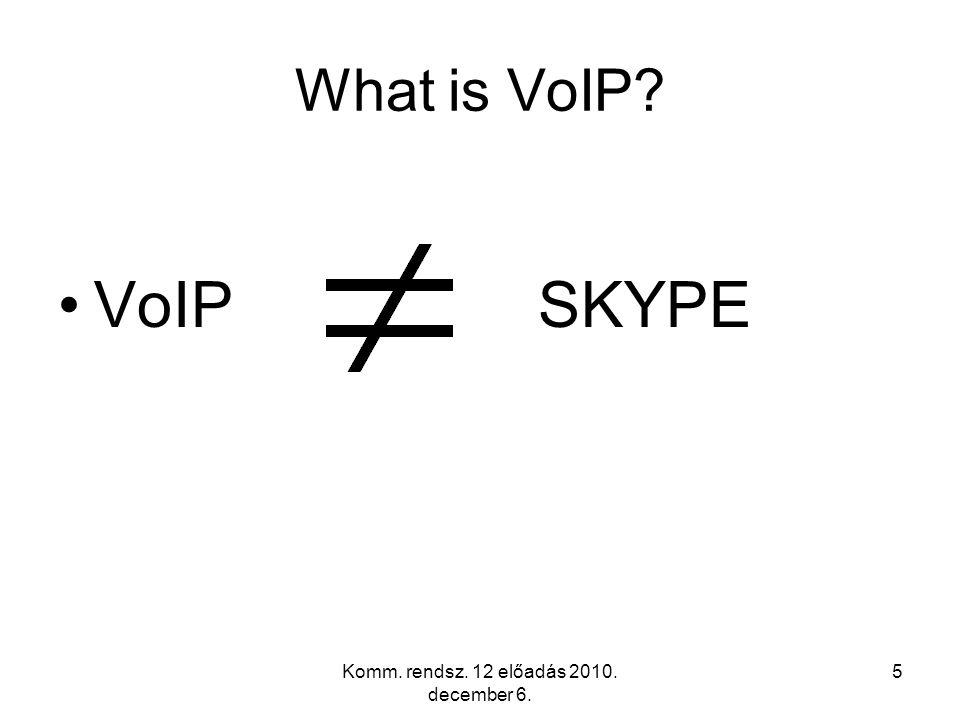 Komm. rendsz. 12 előadás 2010. december 6. 5 What is VoIP? VoIPSKYPE