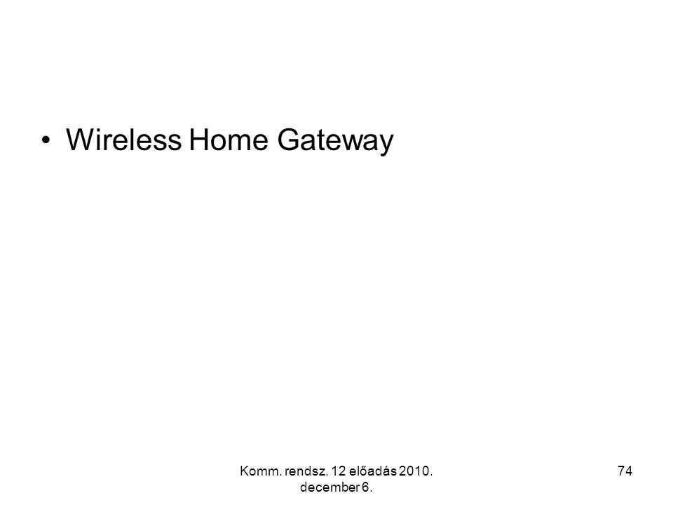 Komm. rendsz. 12 előadás 2010. december 6. 74 Wireless Home Gateway