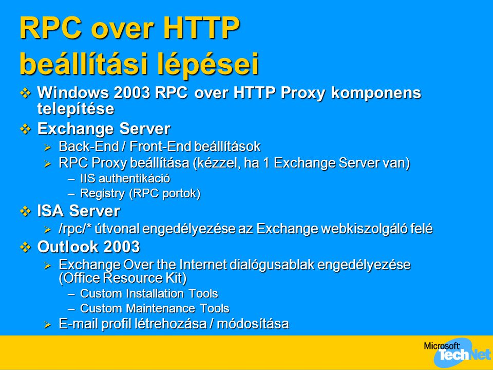 Exchange over the Internet Az Outlook postafiók beállításai