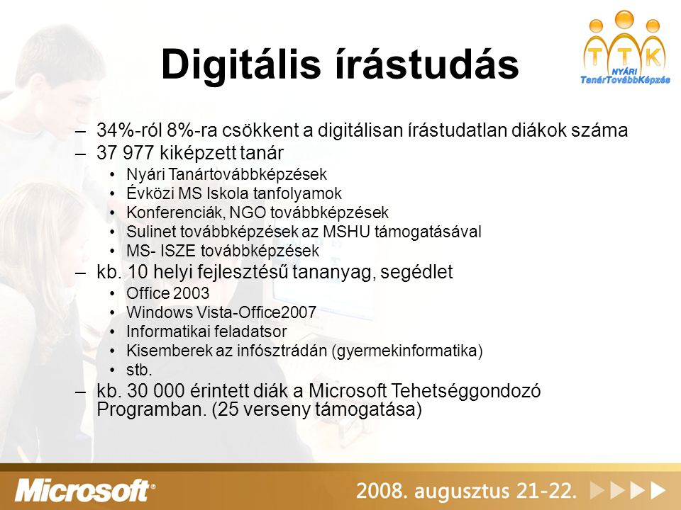 Informatikai szakma - informatikusképzés –14 Microsoft IT Akadémia, kb.