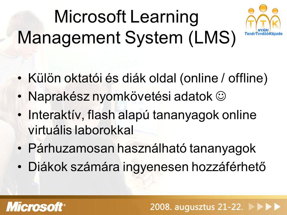 Laborlicencek és MSDN AA 100 db laborlicenc Windows Server 2008 - Windows Vista Business Windows Server 2003 - Windows XP MSDN AA licencek (oktatónak és diákoknak) http://www.msdnaa.net Felhasználás oktatási és kutatási célokra A Program Administrator számára speciális szoftverletöltési lehetőség, diákoknak ELMS