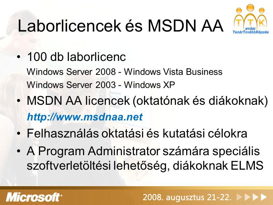 Hasznos linkek Microsoft IT Academy hivatalos oldal: http://www.microsoftitacademy.com Microsoft MSDN AA hivatalos oldal: http://www.msdnaa.net Microsoft E-Learning hivatalos oldal: http://www.microsoftelearning.com