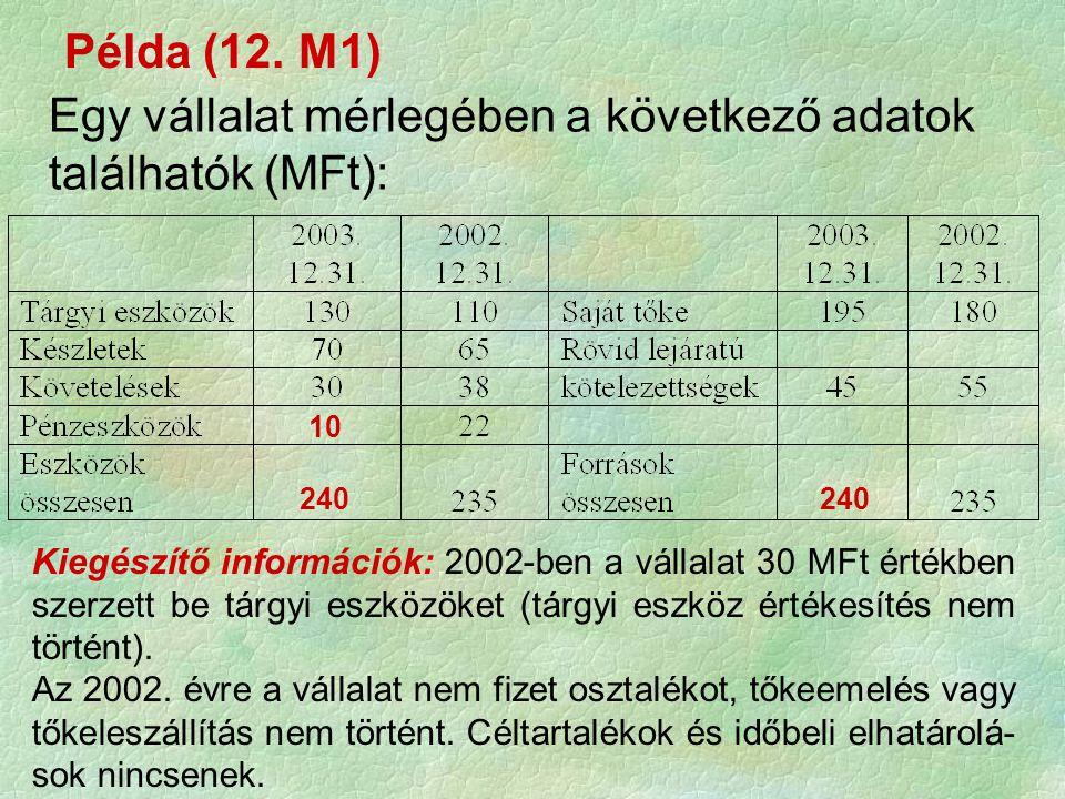 Kérdések: a.) Mennyi pénzeszköze van a vállalatnak 2003.