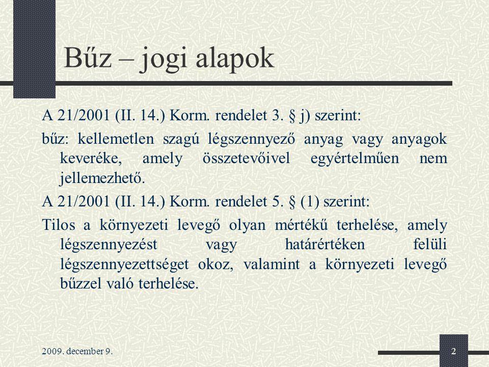 2009.december 9.3 Bűz – jogi alapok A 21/2001 (II.