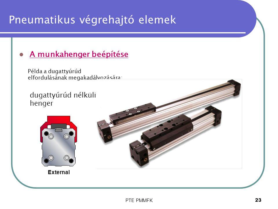 PTE PMMFK24 Pneumatikus végrehajtó elemek A dugattyú sebessége A dugattú sebességét befolyásolja: a henger mérete, a be- és kiömlőnyílás mérete, az útváltó áteresztőképessége, a nyomás, a dugattyúhoz kapcsolt tömeg.