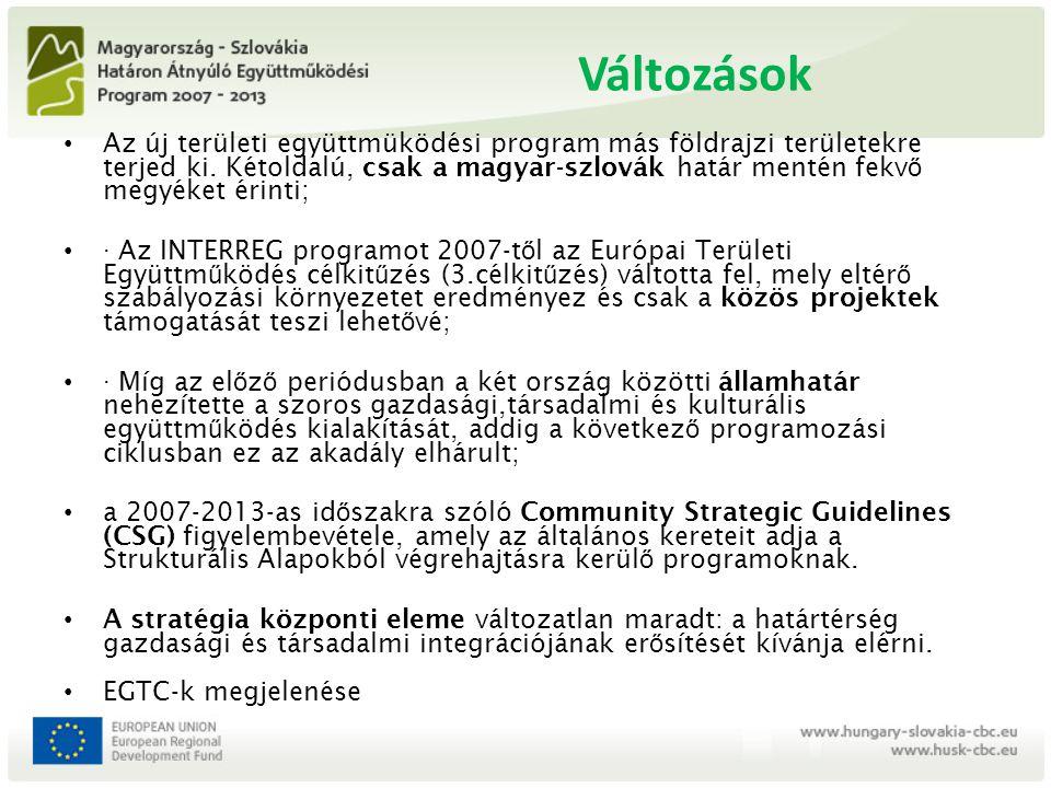 Programcélok, források 1) Specifikus cél: a határtérség gazdasági versenyképességének erısítése 2) Specifikus cél: az emberek és közösségek közötti társadalmi és kulturális koherencia növelése 3) Specifikus cél: a határtérség elérhetőségének és információáramlásának javítása 4) Specifikus cél: a természeti értékek védelme Források - Magyarország és Szlovákia: 85 % - Európai Regionális Fejlesztési Alap (7 évre 176 m.