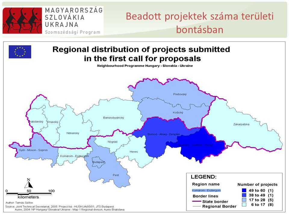 A kérelemezett összeg nagysága regionális bontásban