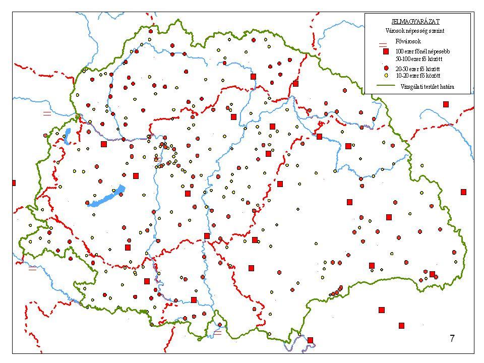 8 A városállomány nagyság szerinti megoszlása 1910; 2001