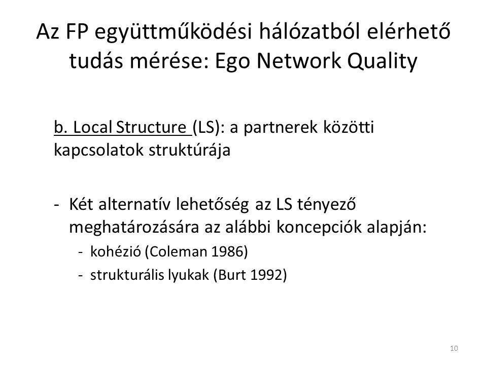 Local Structure (LS) – A két alternatív megfogalmazás: b.1 Local Connectivity – A partnerek között meglévő kapcsolatok átlagos (egy partnerre eső) száma Az FP együttműködési hálózatból elérhető tudás mérése: Ego Network Quality 11