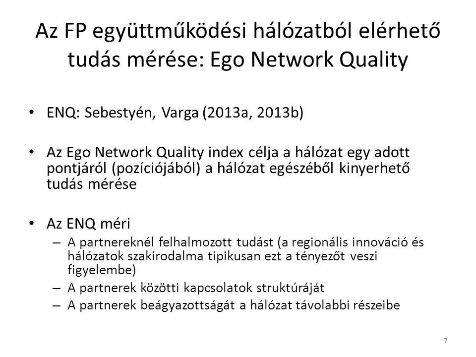Az ENQ figyelembe veszi – a hálózat csomópontjainak belső tulajdonságait (a felhalmozott tudás képében) és – a hálózat struktúrájának tulajdonságait (partnerek száma, a kapcsolatok erőssége, azok sűrűsége, a szereplők centralitása) Az FP együttműködési hálózatból elérhető tudás mérése: Ego Network Quality 8