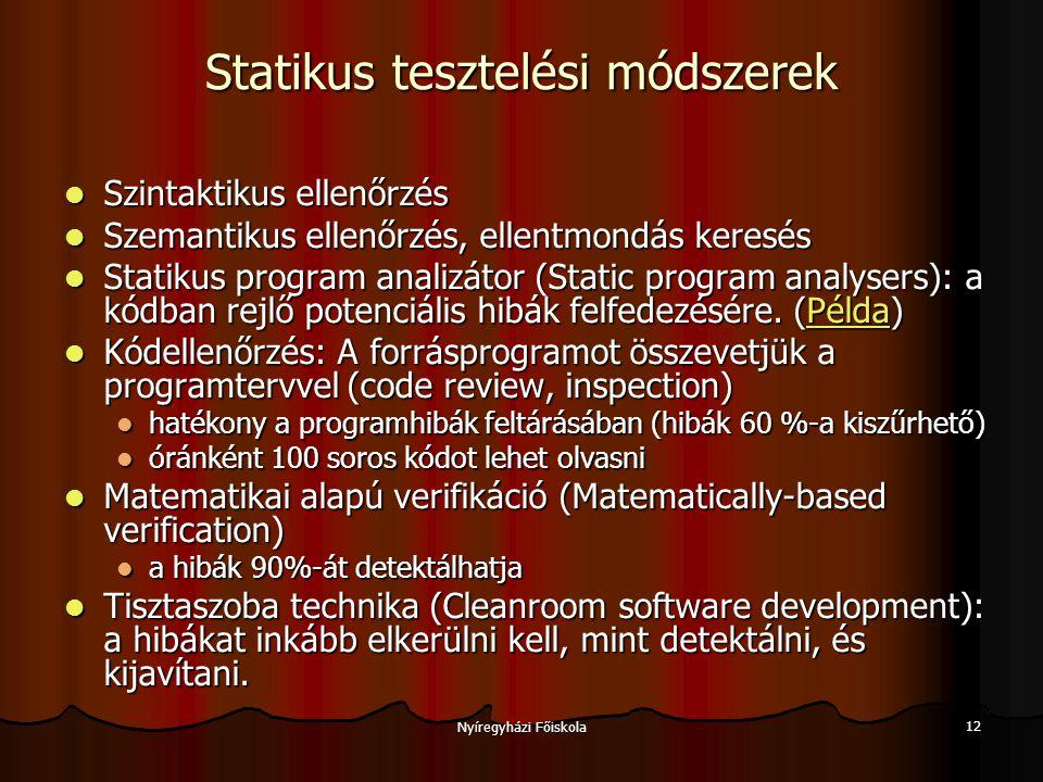 Nyíregyházi Főiskola 13 Szemantikus ellenőrzés deklaráció, hatáskör, láthatóság hibái deklaráció, hatáskör, láthatóság hibái felhasználatlan változó felhasználatlan változó felhasználatlan változóérték felhasználatlan változóérték inicializálatlan változó (pl.
