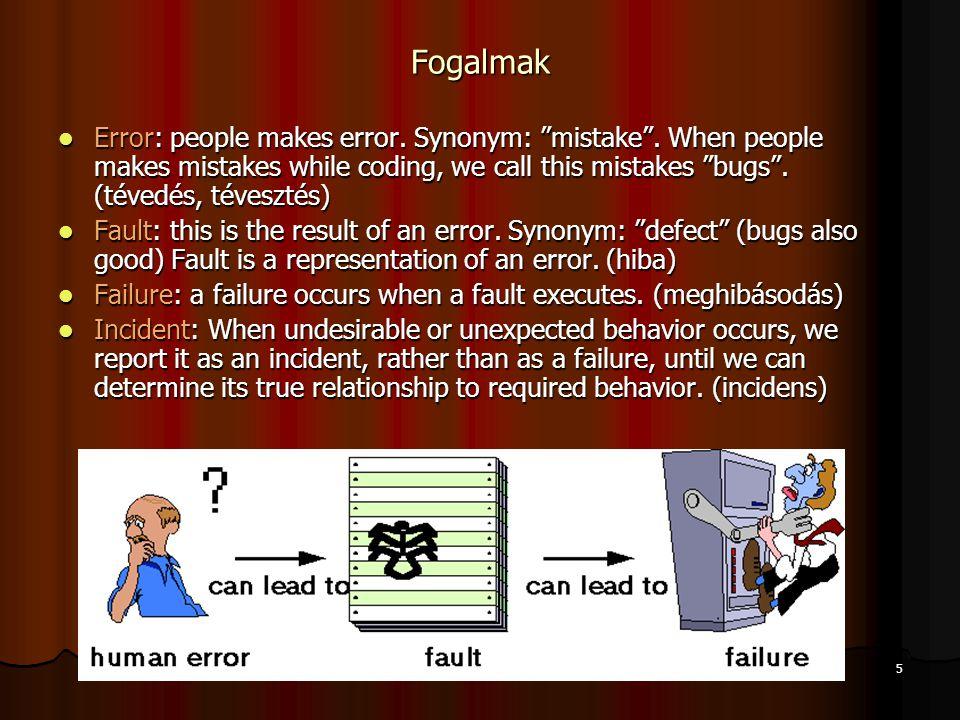 Nyíregyházi Főiskola 6 Test: testing is obviously concerned with errors, fault, failures and incidents.