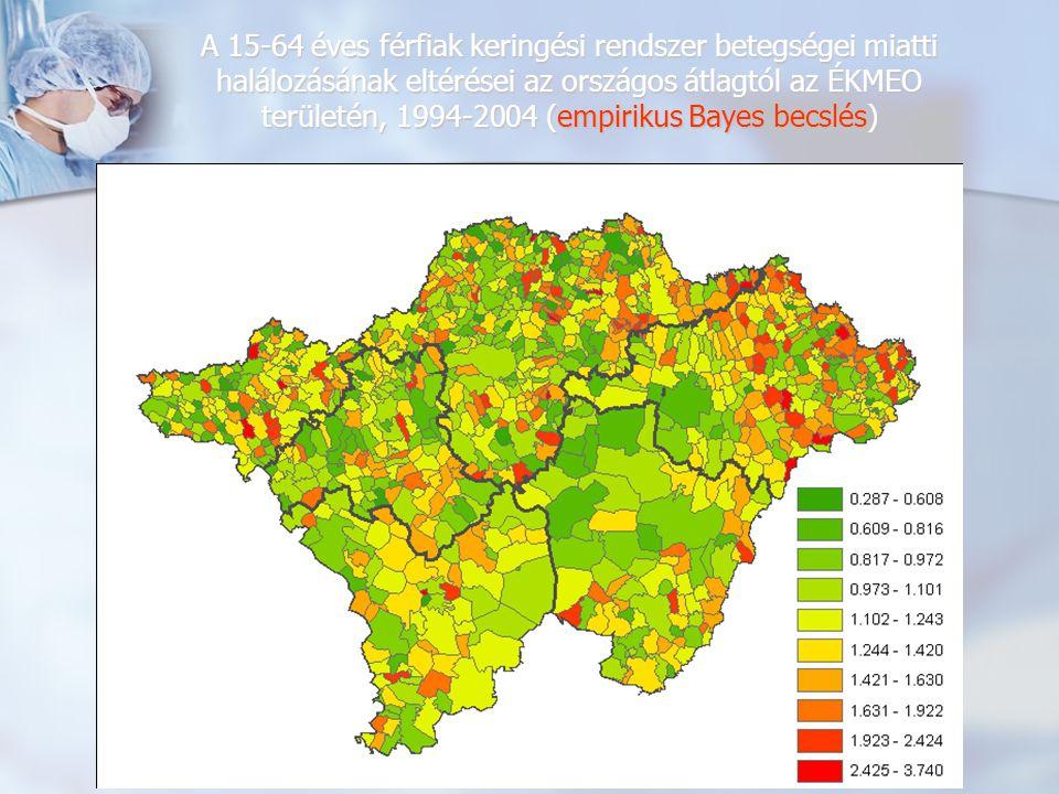 A 15-64 éves férfiak keringési rendszer betegségei miatti halálozásának eltérései az országos átlagtól az ÉKMEO területén, 1994-2004 (empirikus Bayes becslések alapján illesztett felület)