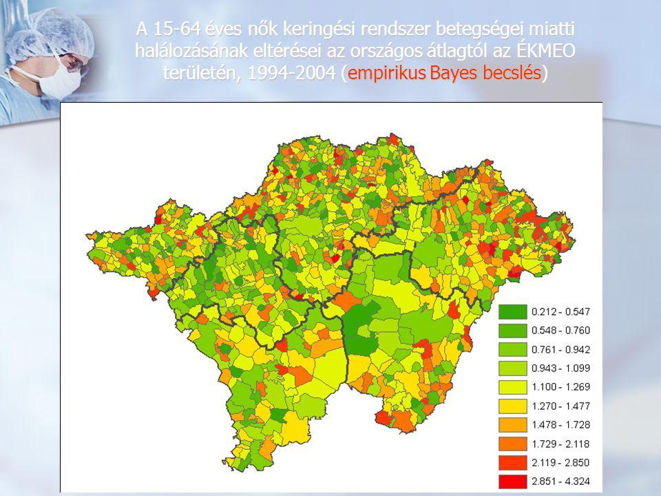 A 15-64 éves nők keringési rendszer betegségei miatti halálozásának eltérései az országos átlagtól az ÉKMEO területén, 1994-2004 (empirikus Bayes becslések alapján illesztett felület)