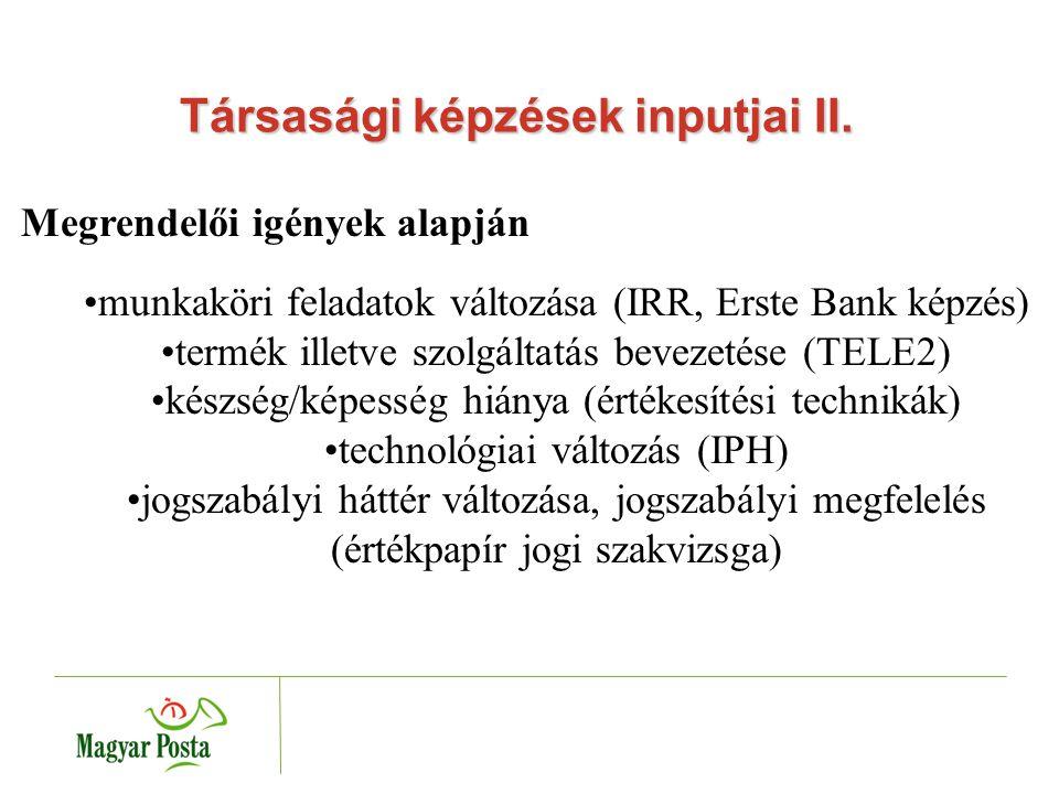 Társasági képzések inputjai III.