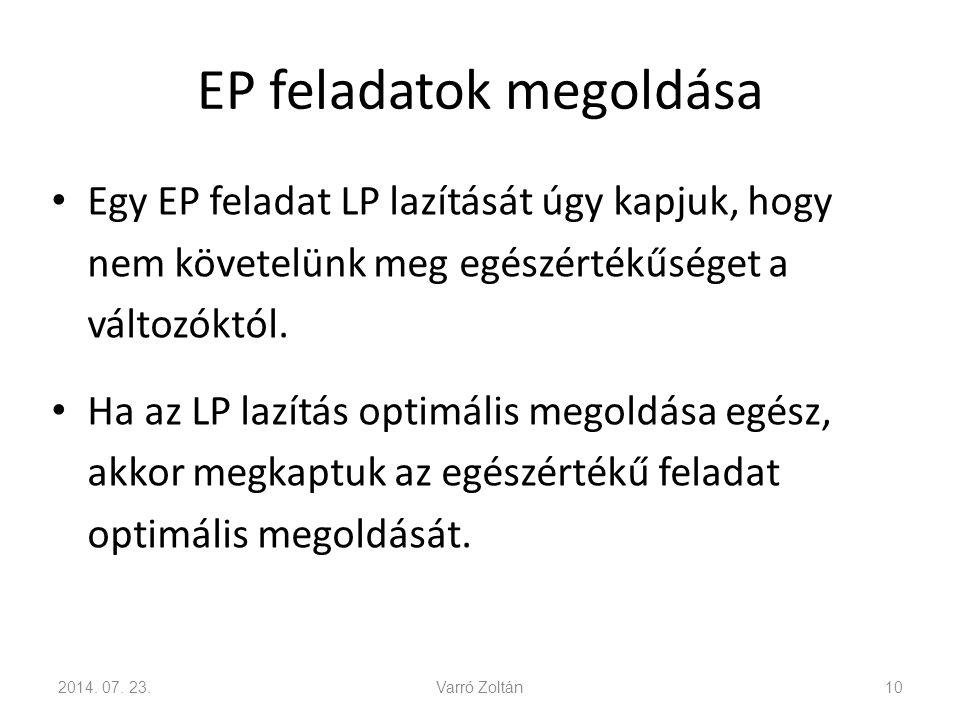 EP feladatok megoldása Az LP lazítás optimális célfüggvényértéke legalább olyan jó, mint az EP feladaté.