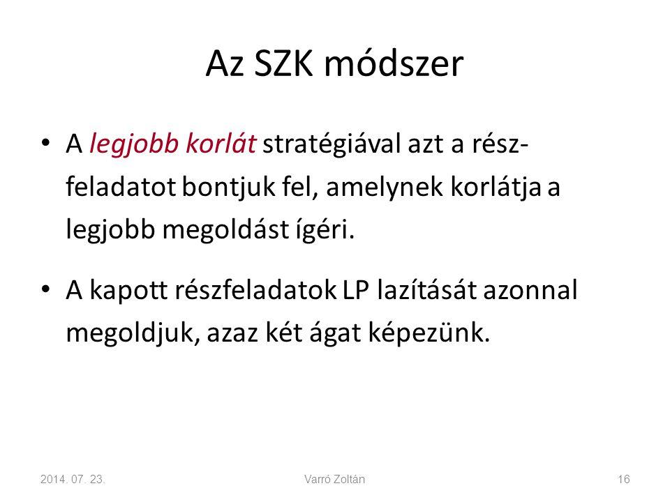 Az SZK módszer A LIFO (last in first out) stratégiával a legutolsó két részfeladat egyikét bontjuk fel.