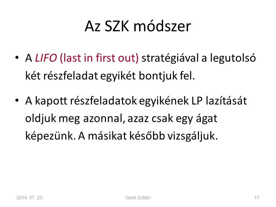 Az SZK módszer Egy részfeladatot lezárunk, ha az LP lazítás: – lehetséges megoldásainak halmaza üres.