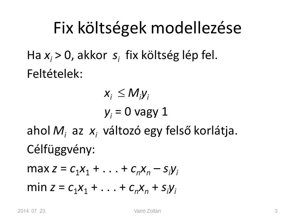 Telepítési probléma Szállítási feladat: min z = c 11 x 11 + c 12 x 12 +...