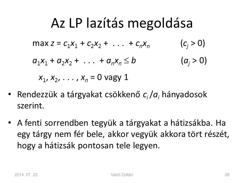Az LP lazítás megoldása Rendezzük a változókat: Keressük meg azt az indexet, amelyre, de Az optimális megoldás: 2014.