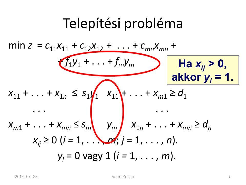 """""""Vagy - vagy feltétel Két feltétel közül legalább egyik teljesüljön: a 1 x  b 1 a 2 x  b 2 Feltételek: a 1 x  b 1 + My a 2 x  b 2 + M(1 − y) ahol M az a 1 x és a 2 x függvények közös felső korlátja."""