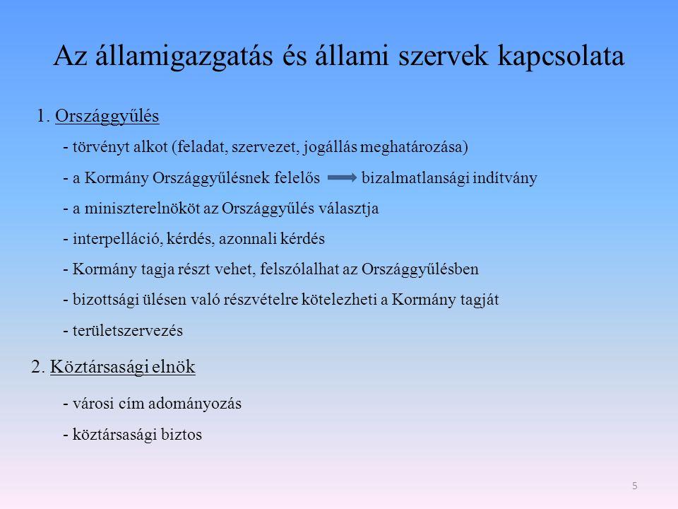 Az államigazgatás és állami szervek kapcsolata II.