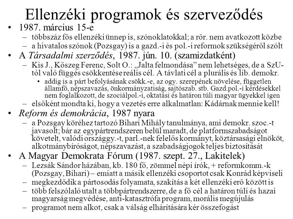 Kádár bukása Az MSZMP erősödő platformizálódása 1988 elején –aktivizálódott az idősebb Nyers Rezső, létrehozva az Új Márciusi Frontot –Grósz Kádár leváltását tervezi, titokban egyeztet Aczéllal, Pozsgayval is (utóbbinak ígérte a kormányfői posztot); Grószt támogatta a még fiatalabb technokrata (párt)értelmiség, pl.