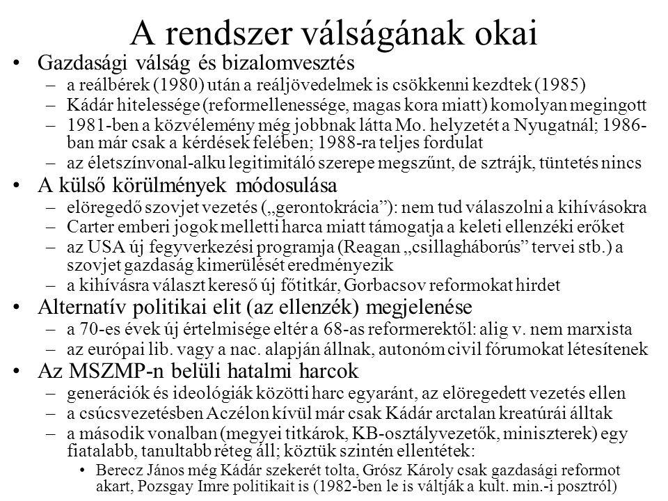 """Az ellenzék két ágának létrejötte Az urbánus / demokratikus ellenzék –gyökerei a magyar marxista filozófusokig nyúlnak vissza Lukács György tanítványai (""""Lukács-gyerekek : Heller Ágnes, Vajda Mihály) a marxizmus pluralizálódását hirdették meg; az ő tanítványaik (""""Lukács-unokák : Kis János, Bence György, Solt Ottília, Kenedi János) hamarosan eltávolodtak a marxizmustól is; 1973-ban mindkét korosztályt kizárták a pártból –rendszerellenes kéziratok 1974-ben: Konrád–Szelényi-ügy; Haraszti Miklós Darabbér-pere (8 hónap felfüggesztett börtön) –1976–77-ben a csoporthoz újabb értelmiségiek csatlakoztak; Kovács András szociológus vezetésével ekkor készült a Marx a 20."""