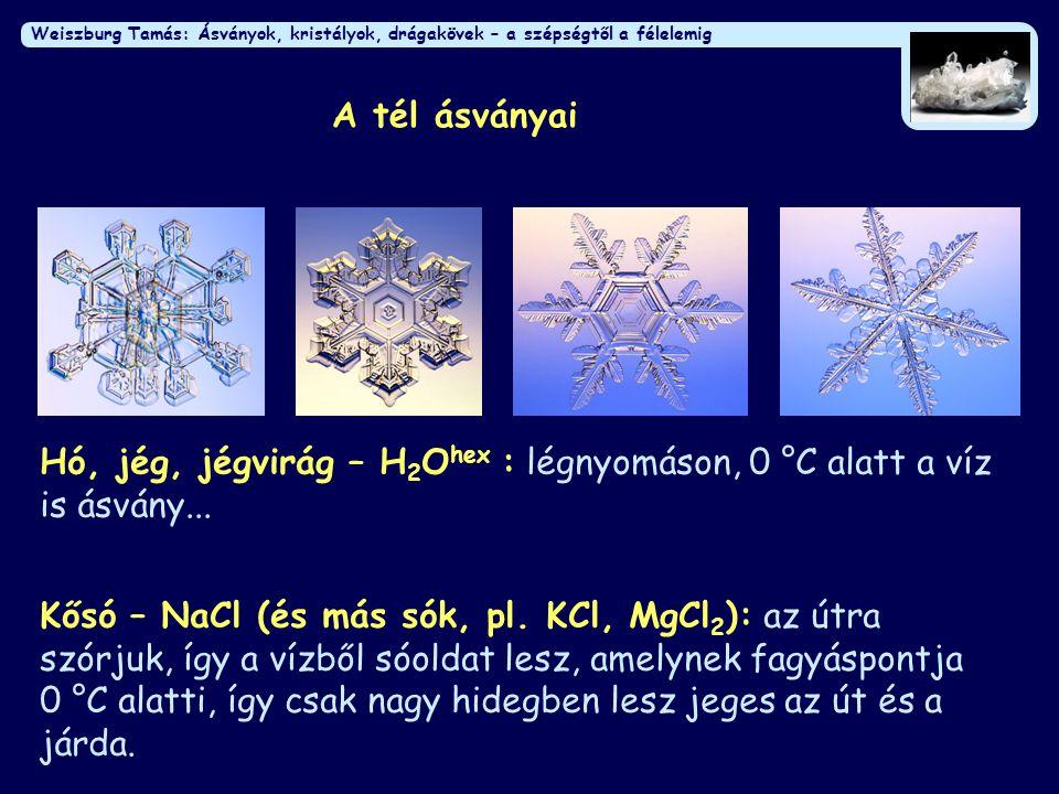 Weiszburg Tamás: Ásványok, kristályok, drágakövek – a szépségtől a félelemig Az ásványok szépsége Természetes: formák, kristálylapok De: ez gyakran nem látszik turmalin apofillit gránát kvarc jáspis (kvarc) achát (kvarc)