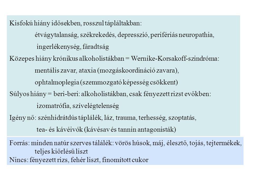 B-2 vitamin = riboflavin →FAD, FMN prosztetikus csoport Funkció: egyes dehidrogenázok és reduktázok, jellemzően oxidázok prosztetikus csoportjai Pl.