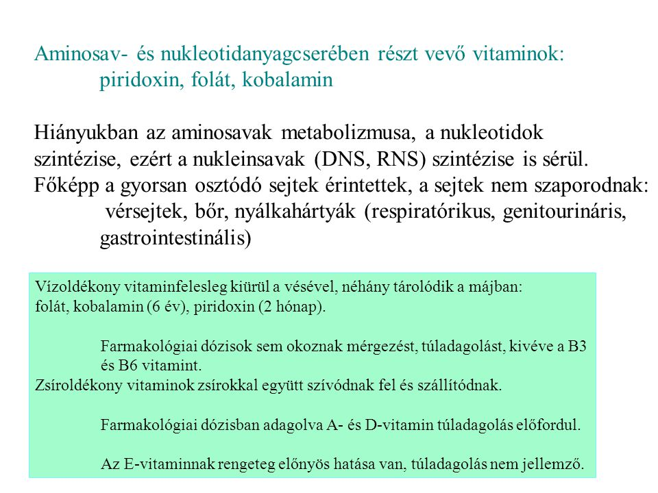 B1-vitamin = tiamin→ TPP = tiamin-pirofoszfát prosztetikus.csoport Funkció: oxidatív dekarboxilező enzimekben: PDHC, αKGDHC, elágazó szénláncú ketosav-dehidrogenáz, és transzketoláz Hiányában nincs aerob glukózbontás, citrátkör, aminosavbomlás, ATP-hiány lesz pentózfoszfát-út nem megy, NADPH-hiány A tiazol N és S közti C-atomja könnyen deprotonálódik, itt köt.