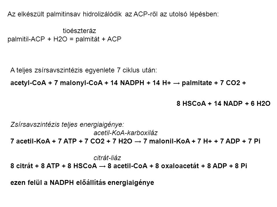 Gátol allosztérikusan: acil-KoA foszforilálva: adrenalin, glukagon, glkóz/oxigén/ATP hiánya represszál: leptin zsírszövetben Serkent allosztérikusan: citrát defoszforilálva: inzulin indukál: inzulin és glukóz