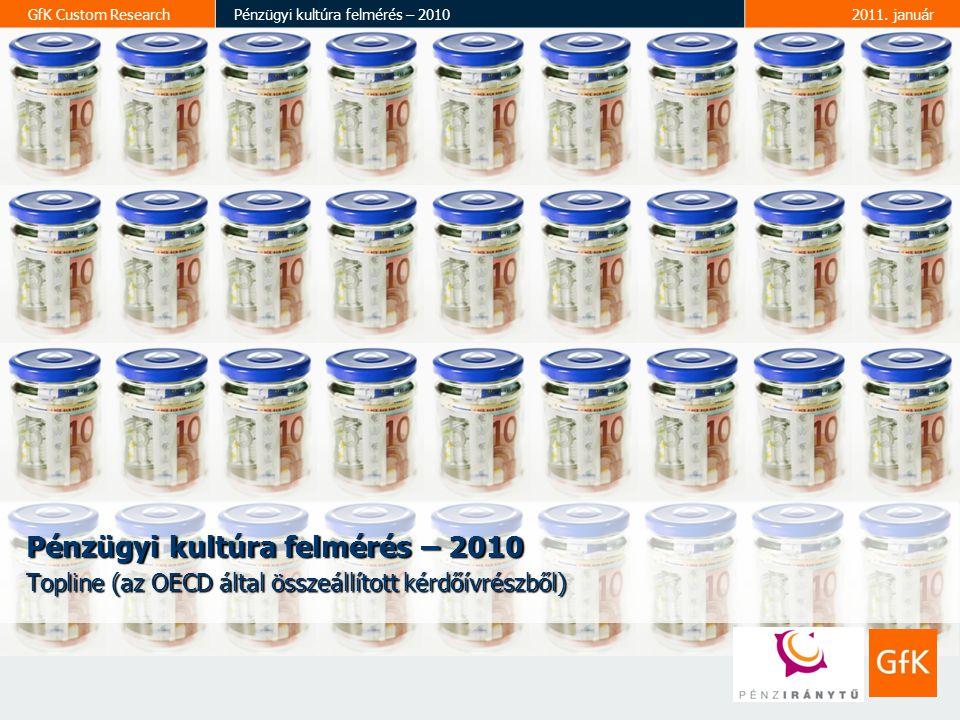 2 GfK Custom ResearchPénzügyi kultúra felmérés – 20102011.