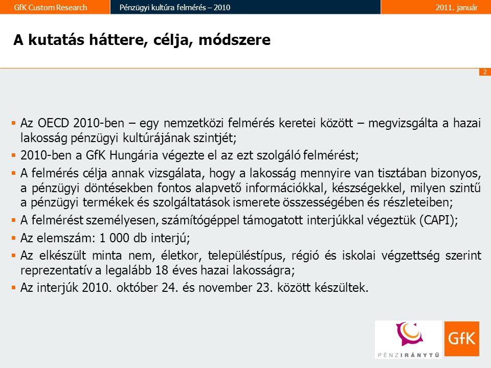 3 GfK Custom ResearchPénzügyi kultúra felmérés – 20102011.