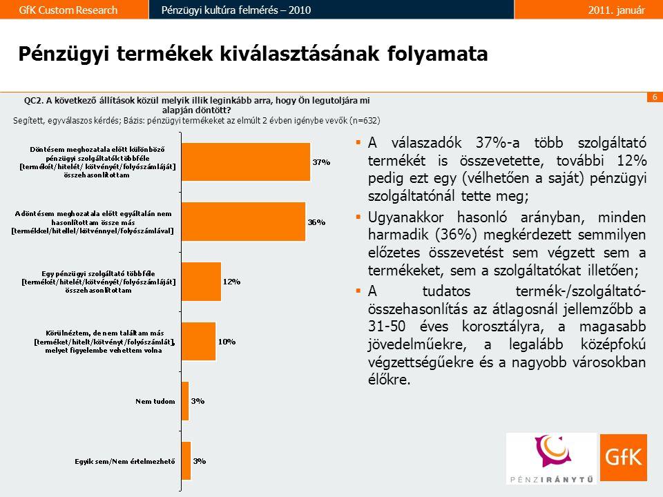 7 GfK Custom ResearchPénzügyi kultúra felmérés – 20102011.