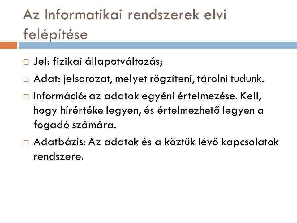 Az információ érték  Az információ központi erőforrás  Az anyaggal és az energiával egyenrangú  A szétszórtan létező információ nehezen használható  A több példányban létező információ nehezen karbantartható