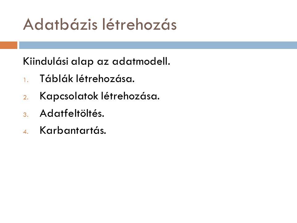 Táblák létrehozása Táblának nevet adunk Definiáljuk a Tulajdonságtípusokat (oszlopokat), az mezőnevek és az adattípusok megadásával.
