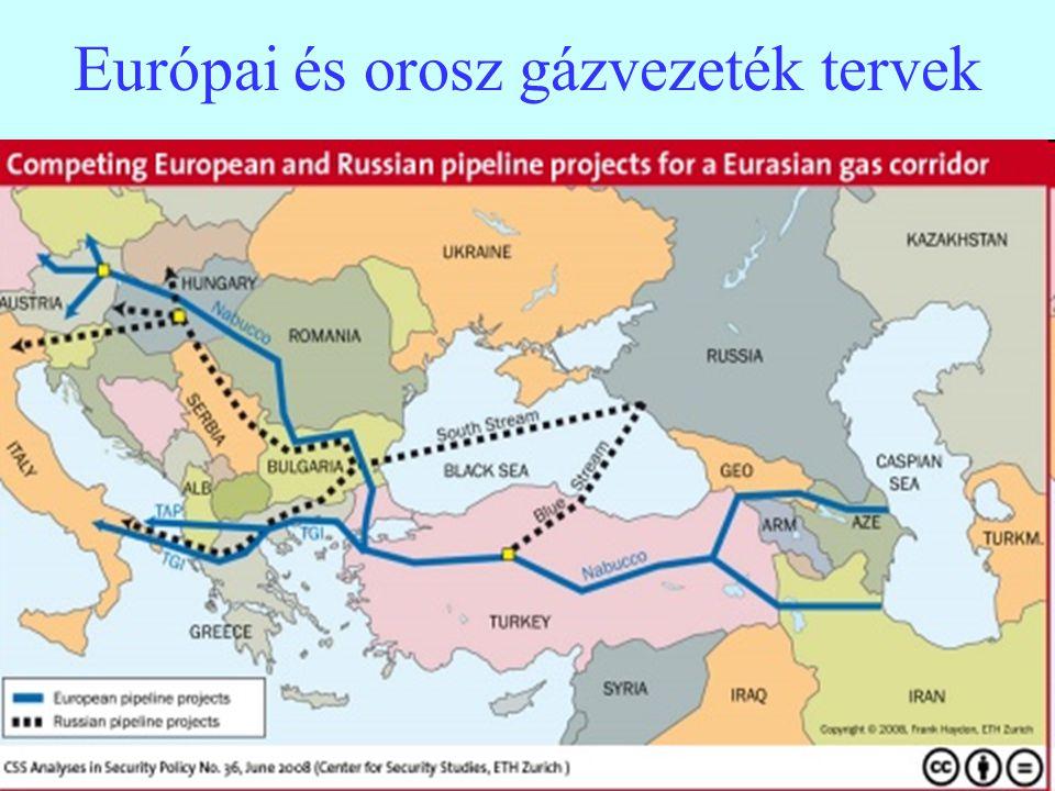 9 Az EU tagállamok gázimport függése A 100 % feletti értékek a készlet-változásból adódnak, a negatív értékek a pozitív export szaldót mutatják