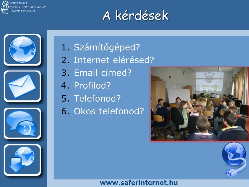 www.saferinternet.hu Válaszok (vidék) 1.Számítógépet most már sokan tudnak venni.