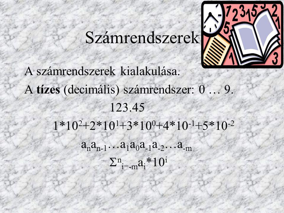 Tetszőleges p>1alapszám esetén:  n i=-m a i *p i Jelkészlet: 0 … p-1.