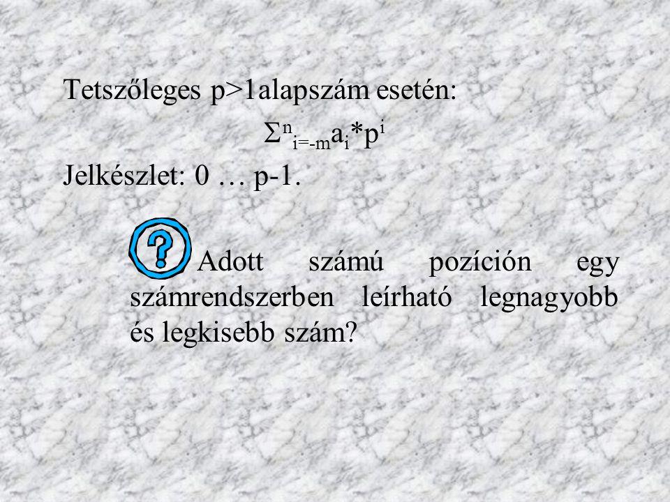 A számítástechnikában használatos számrendszerek Kettes (bináris) számrendszer: 0 1 (A számítógépes információtárolás alapegysége a bit, ami ezt a két értéket veheti fel.) Tizenhatos (hexadecimális) számrendszer: 0 … 9 A …F