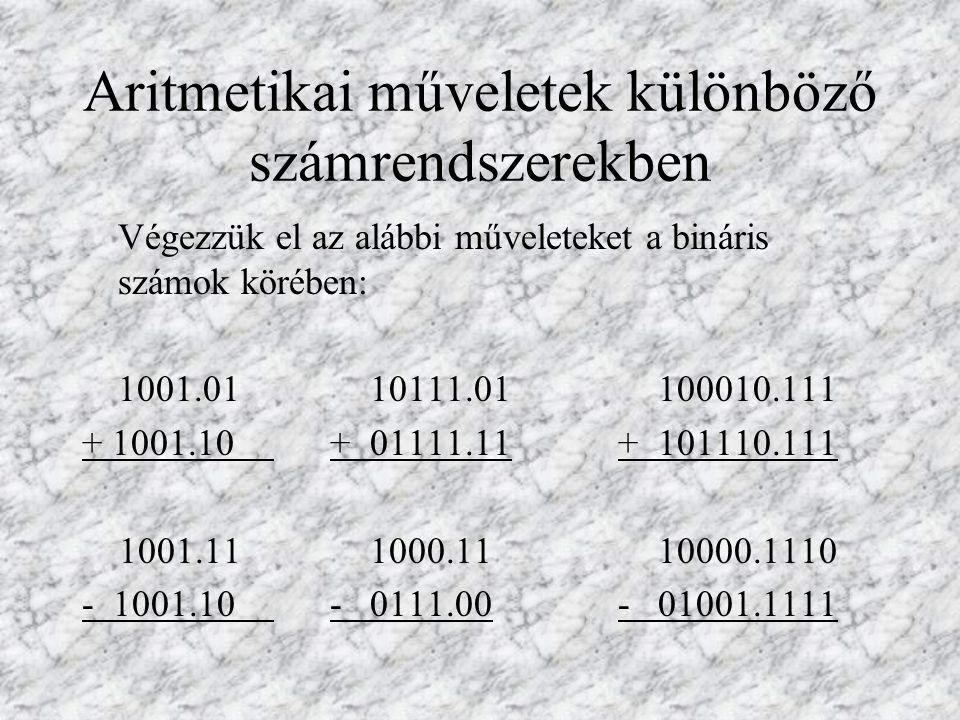 Végezzük el az alábbi műveleteket a hexadecimális számok körében: ABCD.EF CCC.CC 1000.010 + 1 9 2 3.7A+ DDD.DD + A111.013 1AB2C.23 AAA.AA 10000.100 - AB3C.25- AA.AB - 1111.111