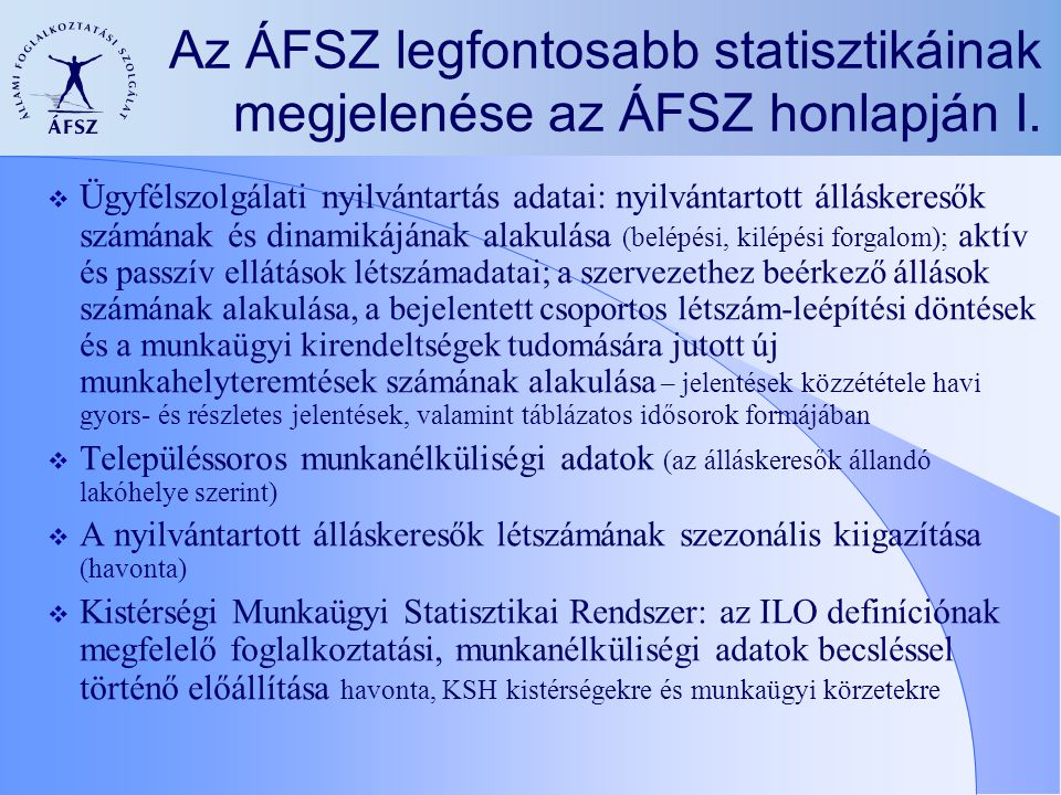 Az ÁFSZ legfontosabb statisztikáinak megjelenése az ÁFSZ honlapján II.