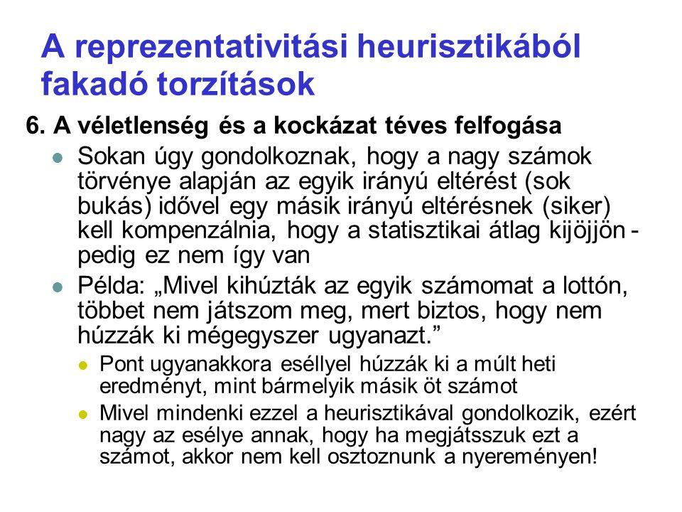A reprezentativitási heurisztikából fakadó torzítások 7.