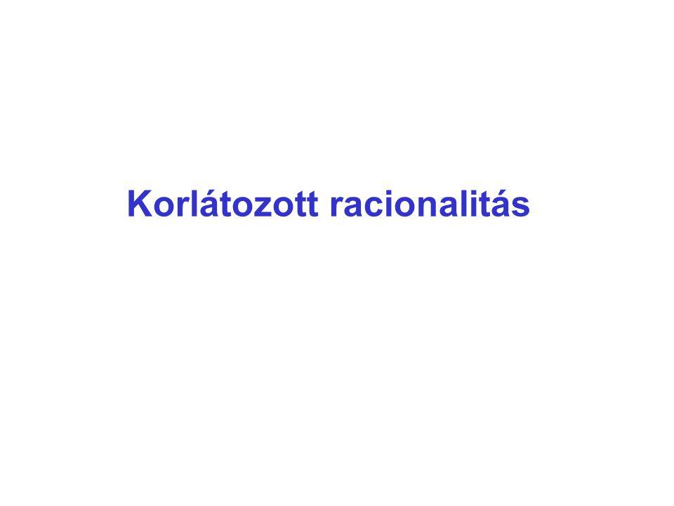 Problémák az ideális racionális döntéshozatallal Korlátozott racionalitás 1.