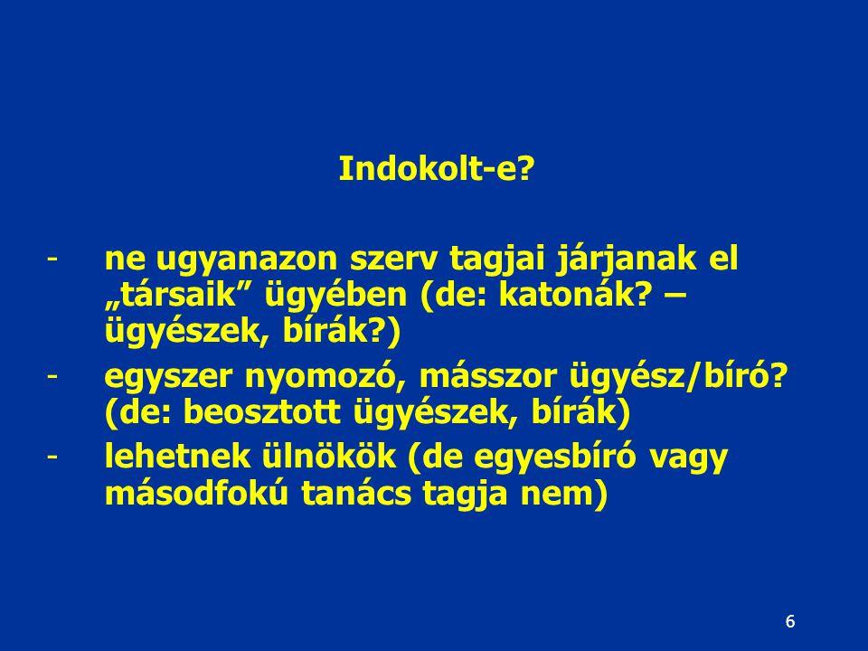 """6 Indokolt-e.-ne ugyanazon szerv tagjai járjanak el """"társaik ügyében (de: katonák."""