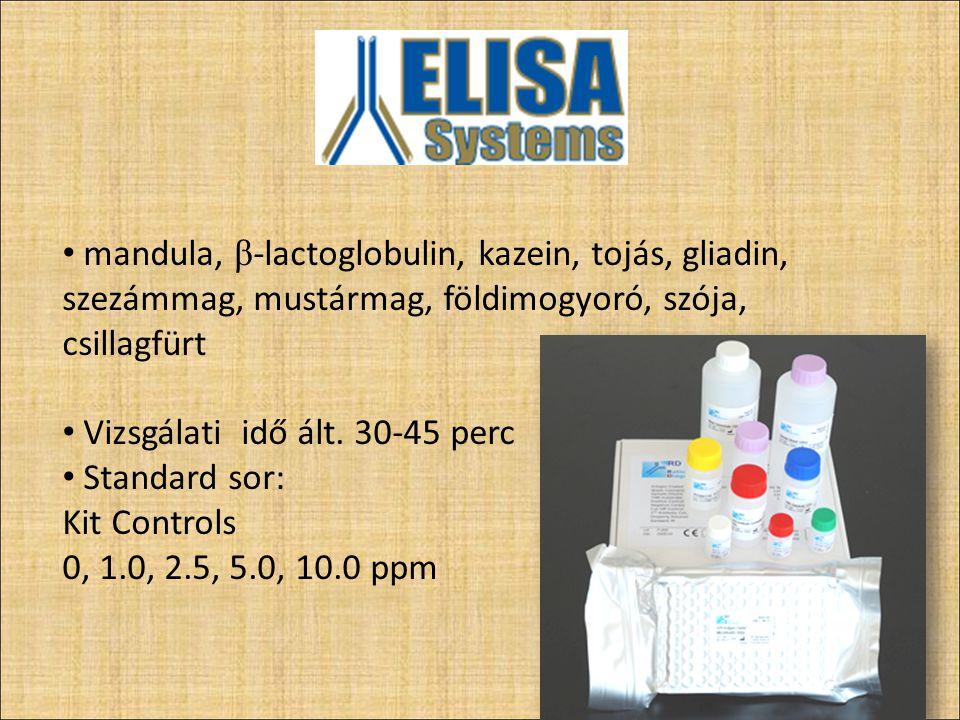 Néhány példa: csillagfürt: ELISA, RT-PCR kazein: ELISA gliadin: ELISA, RT-PCR, lateral flow test földimogyoró: ELISA, RT-PCR, lateral flow test mandula: ELISA, RT-PCR Tojás, szója, zeller, dió, szezámmag, mustármag, hal, β -lactoglobulin, hisztamin,puhatestűek 46