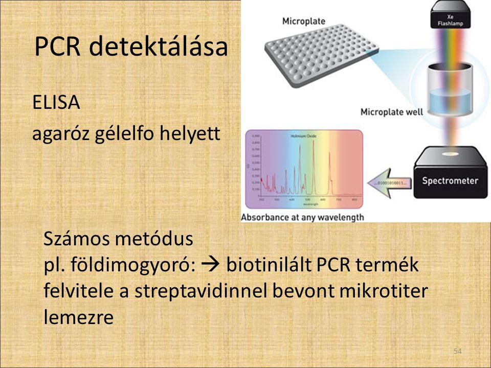 Detektálás menete felülethez kötött denaturált PCR termék + enzimjelölt antitesthez kapcsolt, termékre specifikus probe + kromogén szubsztrát mikroplate-reader 55