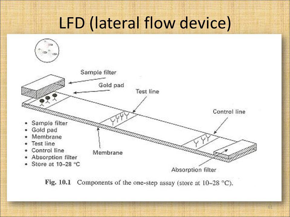 LFD (lateral flow device) Felépítése mintaszűrő (papírszerű, szűr, puffereli a mintát) konjugátum pad (üvegfonálszerű, arany-, latex-, szénkonjugált oldatokban  A konjugátum mérete 5-200 nm  növeli az érzékenységét) membrán (nylon, nitrocellulóz) adszorpciós pad (megköti a folyadékot  a minta továbbfolyik, át a membránon) tesztcsík, és kontroll csík (precízen, membránra rögzített antitest rétegek) 62