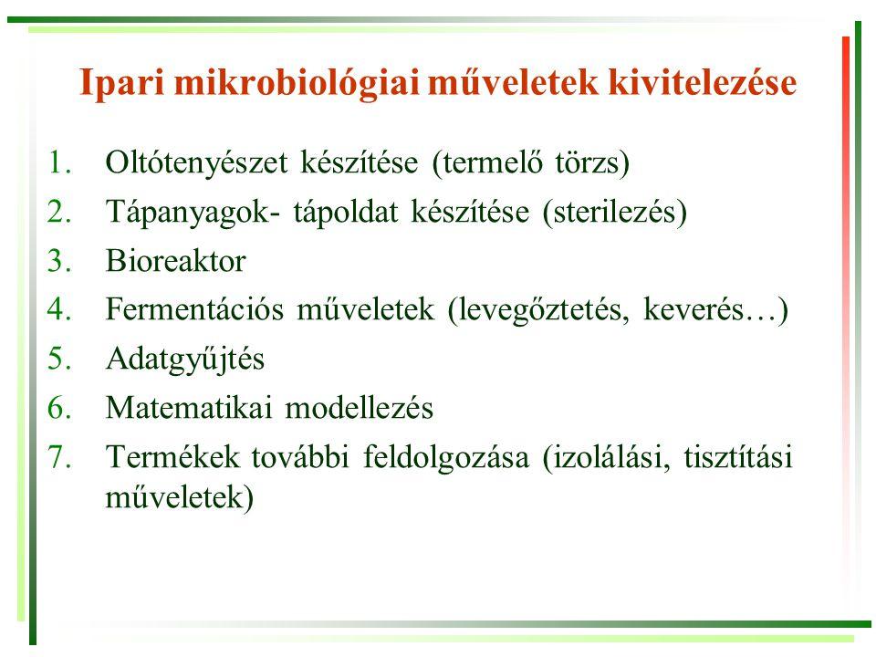 Törzsszelekció, törzsjavítás, törzsfenntartás 1.Törzsszelekció: mikroorganizmusok izolálása (törzsgyűjteményből, szennyvízből, talajból…) Mérsékelt termelőképességű törzsek 2.Törzsjavítás, törzsfejlesztés Nagyobb termelőképességű mutánsok (pl.